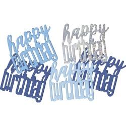 Konfety nápis Happy Birthday strieborno modré, 14.1g