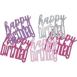 Konfety nápis Happy Birthday strieborno ružové, 14.1g