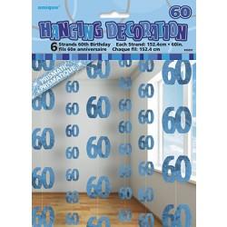 Reťazová dekorácia 60. narodeniny modrá, 1,5m, 6ks