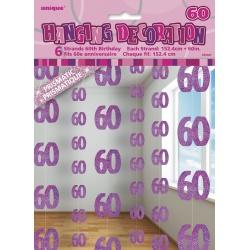Reťazová dekorácia 60. narodeniny ružová, 1,5m, 6ks