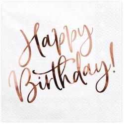 Servítky Happy Birthday, ružovo zlatý nápis, 33x33cm, 20ks