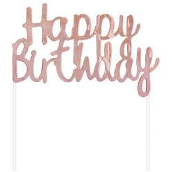 Nápis na tortu Happy Birthday ružovo zlatý lesklý, 11x14cm