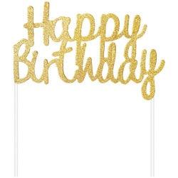 Nápis na tortu Happy Birthday zlatý trblietavý, 11x14cm