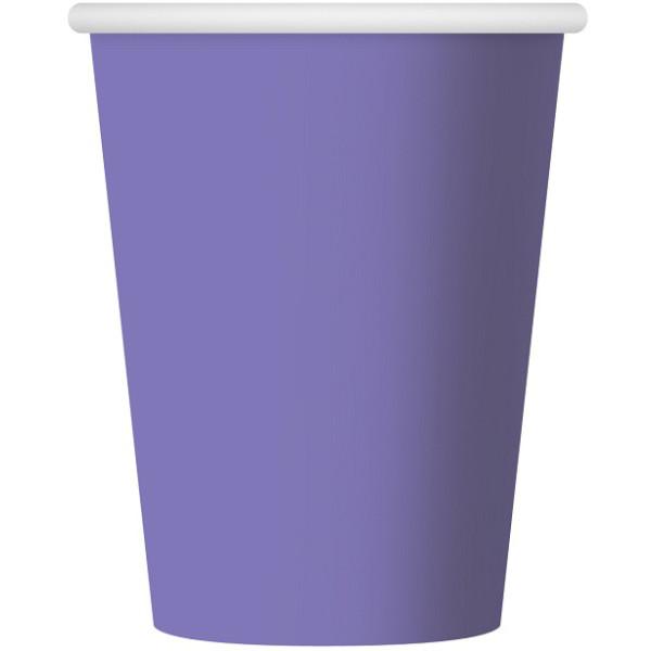 Papierové poháre fialové, 270ml, 6ks