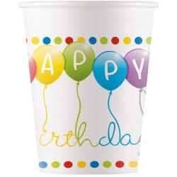 Papierové poháre Happy Birthday, 200ml, 8ks