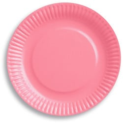 Papierové taniere bledoružové, 18cm, 6ks