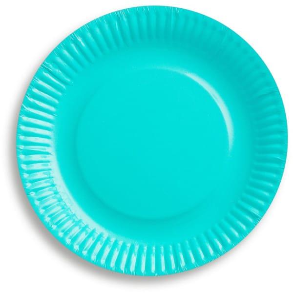Papierové taniere tyrkysové, 18cm, 6ks