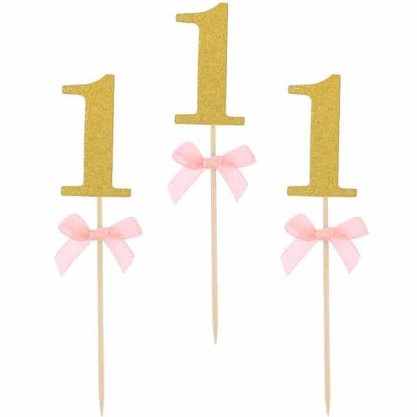 Napichovadlo 1. narodeniny ružové, 10ks