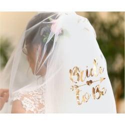 Závoj s nápisom Bride to Be ružovo zlatý, 72cm
