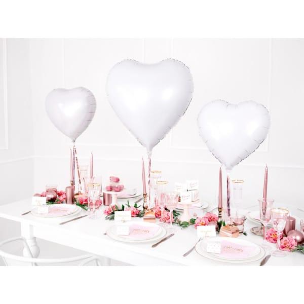 Fóliový balón biele srdce, 45cm