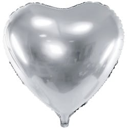 Fóliový balón strieborné srdce, 45cm