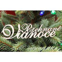 Drevený nápis Požehnané Vianoce, 200x49mm