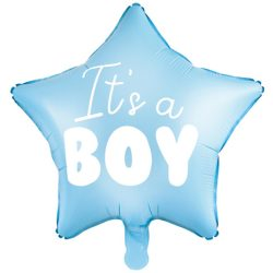 Fóliový balón hviezda s nápisom It's a boy, bledo modrý, 48cm