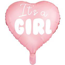 Fóliový balón srdce s nápisom It's a girl, bledo ružové, 45cm