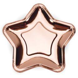 Papierové taniere hviezda ružovo zlaté lesklé, 18cm, 6ks