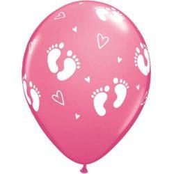 Balón ružový s potlačou nožičiek a srdiečok, 28cm, 6ks