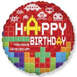 Fóliový balón Happy Birthday s kockami, 46cm