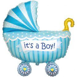 Fóliový balón kočík Its a Boy modrý, 61cm