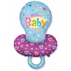 Fóliový balón Welcome Baby modrý, 61cm