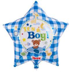 Fóliový balón hviezda s nápisom Its a Boy, 38cm