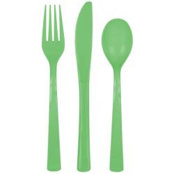 Plastový príbor zelený, sada 18ks