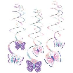 Špirálová dekorácia Motýle, 61cm, 6ks