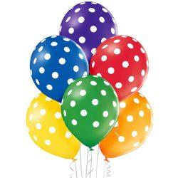 Balónový set bodkovaný farebný, 30cm, 6ks