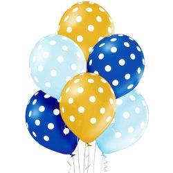 Balónový set bodkovaný modro zlatý, 30cm, 6ks