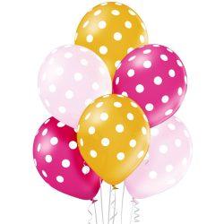 Balónový set bodkovaný ružovo zlatý, 30cm, 6ks
