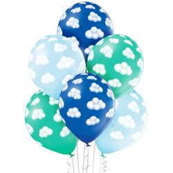 Balónový set obláčiky modro tyrkysový, 30cm, 6ks