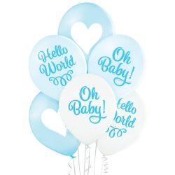 Balónový set Oh Baby modrý, 30cm, 6ks