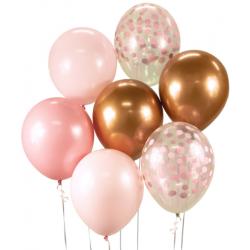 Balónový set ružovo zlatý, 30cm, 7ks