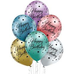 Balónový set s nápisom Happy Birthday farebný, 30cm, 6ks