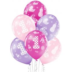 Balóny 1. narodeniny ružovo fialový mix, 30cm, 1ks