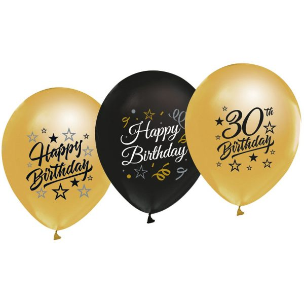 Balóny 30. narodeniny zlaté a čierne, 30cm, 5ks