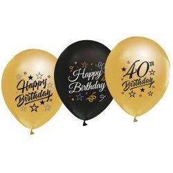 Balóny 40. narodeniny zlaté a čierne, 30cm, 5ks
