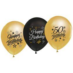 Balóny 50. narodeniny zlaté a čierne, 30cm, 5ks