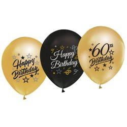 Balóny 60. narodeniny zlaté a čierne, 30cm, 5ks