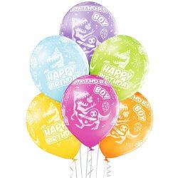 Balóny dinosaurus s nápisom Happy Birthday Boy, 30cm, 6ks