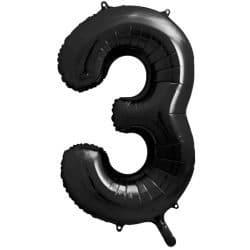 Fóliový balón číslo 3, čierny, 86cm
