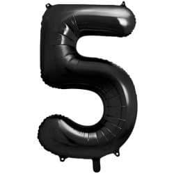 Fóliový balón číslo 5, čierny, 86cm