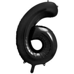 Fóliový balón číslo 6, čierny, 86cm