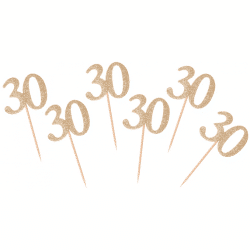 Napichovadlo 30. narodeniny zlaté s trblietkami, 6ks