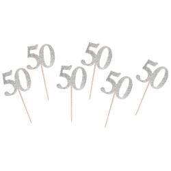 Napichovadlo 50. narodeniny strieborné s trblietkami, 6ks