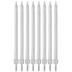 Narodeninové sviečky strieborné, 10cm, 8ks