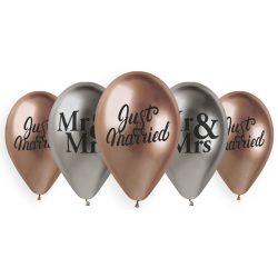 Balóny na svadbu s potlačou Mr&Mrs, lesklé, 33cm, 5ks